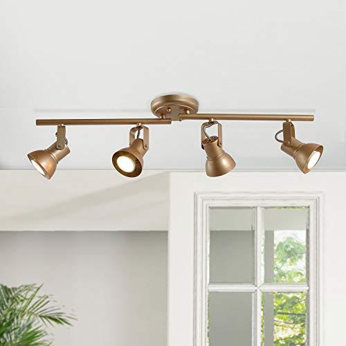 KSANA Gold LED Track Lighting, Adjustable Modern Ceiling Spotlight, 4 Lights Kitchen Track Lighting