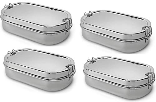 Lifestyle Block Stainless Steel Oval Lunch Box with Inner Snack Box 4 Pack