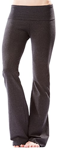 (Hard Tail Roll Down Bootleg Flare Pant in Dark Charcoal Heather Grey, m)