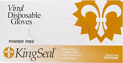 KingSeal Vinyl Disposable Gloves, Powder-Free, 4 mil, Clear, Medium, 4 bx/100 per - Vinyl Med