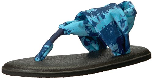 Sanuk Women's Yoga Sling 2 Solid Vintage Flip-Flop, Navy Tye dye, 10 M US (Kids Blue Tide Apparel)