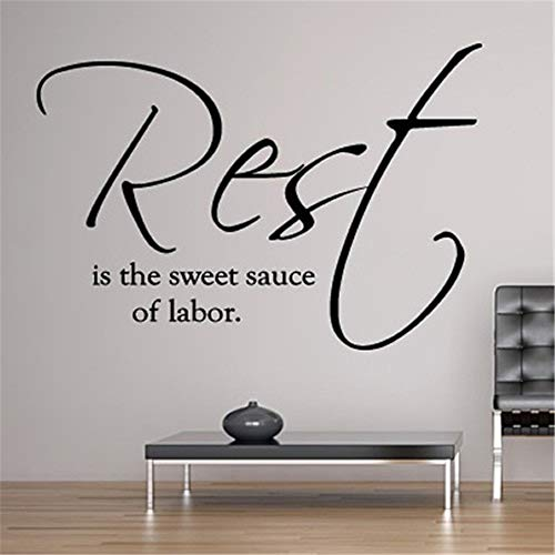 Quotes Art Decals Vinyl Removable Wall Stickers Rest is The Sweet Sauce of Labor for Living Room Bedroom ()