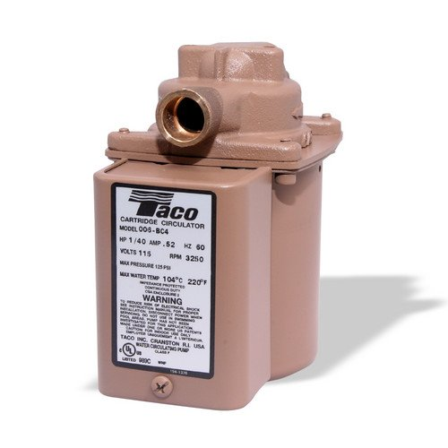 006 (1/2'' Sweat) Taco Bronze Circulator w/ Integral Flow Check, 1/40 HP