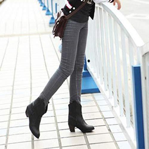 Con Basso Alla Elegante Spesso Nero Stivaletto Stivali Stivale Boots Alto Da In Tacco Donna Casual Moda Pelle Feixiang Stivaletti E g44qAY