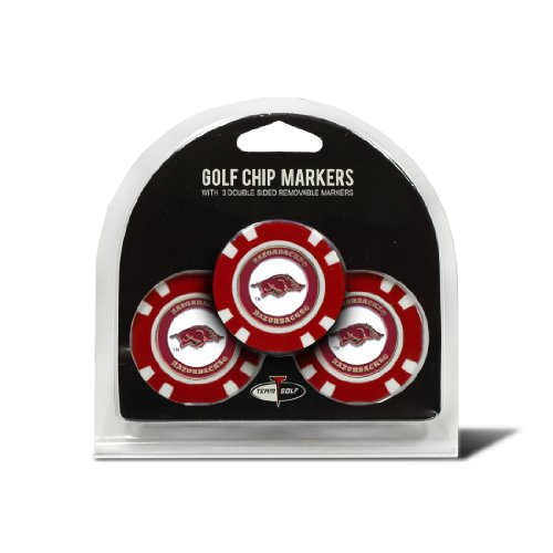 Team Golf NCAA Arkansas Razorbacks Golf Chip Ball Markers (3 Count), Poker Chip Size with Pop Out Smaller Double-Sided Enamel Markers - Ncaa Arkansas Razorbacks Towel