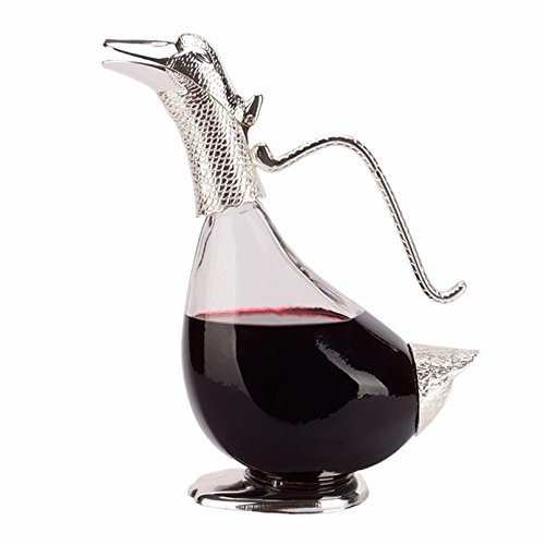 Funnytoday365 Originality Design Duck Shape Decanter Silver Finish Glass Decanter Modern As Gift To Family Or (Duck Decanter)