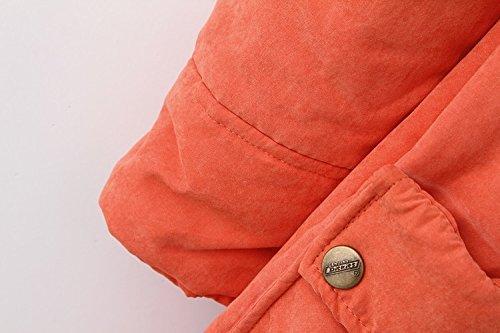 Cotton Jacket Zipper Fleece Quilted Winter Lined Trench Overcoat Women Long Hooded Outwear Mid Parka WSLCN Coat Warm Hooded Orange zTngExt8qw