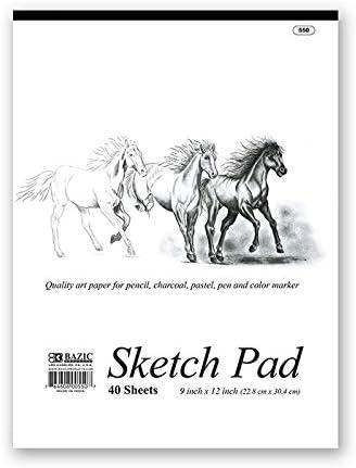 9 X 12 Premium Sketch Pad Case Pack 48 BAZIC 40 Ct