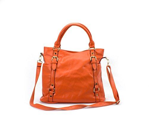 Newbee Fashion® - Designer Inspried Buckle Design Large Fashion Handbag Satchel Y220-1v6