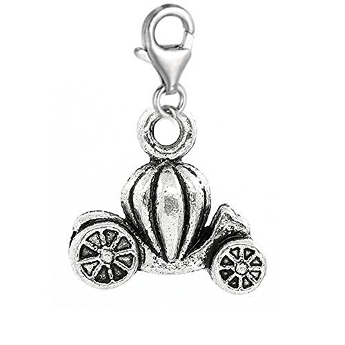 SEXY SPARKLES Clip on Pumpkin Car Charm Dangle Pendant for EuropeanClip on Charm Jewelry with Lobster Clasp
