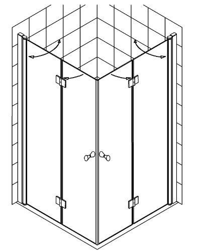 glas dusche klappbar glasdusche bxtxh eckeinstieg teilig. Black Bedroom Furniture Sets. Home Design Ideas