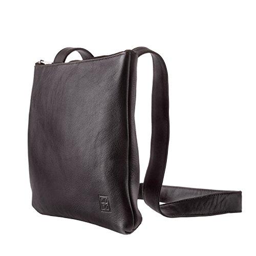 DUDU Tasche mit verstellbarem Schulterriemen Slim Damen Herren aus weichem Leder flach mit Reissverschluss Dunkelbraun