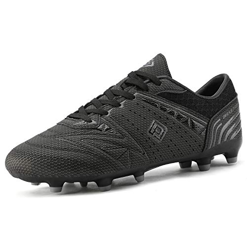 DREAM PAIRS 160859 Men's Sport Flexible Athletic Lace Up Light Weight Outdoor Cleats Football Soccer Shoes Black DK.Grey Size 9