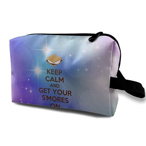 Uyikuvt Travel Toiletry Bag Keep Calm Get S'Mores for Men & Women Cosmetic Organizer Makeup Bag Shaving Dopp Kits with Handle -