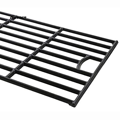 """Hisencn Barbecue Parts Universal Matte Cast Iron Grill Grates Replacement for Master Forge SH3118B Gas Grill Models, Cooking Grid, Set of 2, 17 5/8"""""""