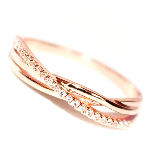14K Dainty and Delicate Triple Cord Single Pave Cubic Zirconia CZ Crystal Pave Band Intertwined Ring for Women - Rose Gold Plated Size 8