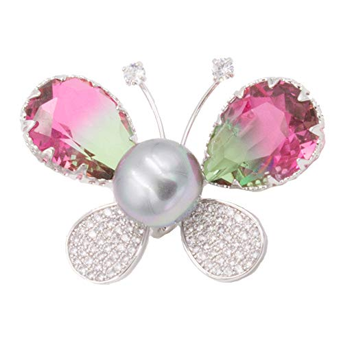 Lavencious Butterfly Style with Simulated Pearl CZ Color Stone Bridal Brooch Pin for Women (Silver Multi Color)