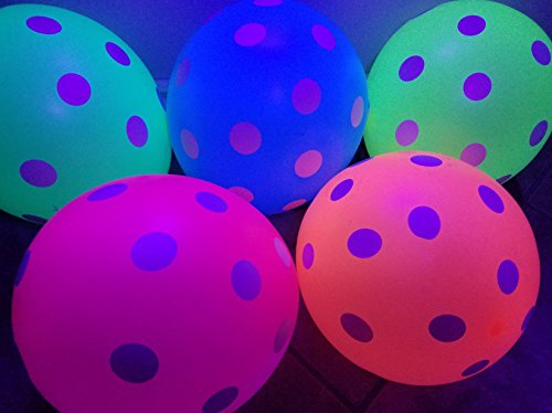 Blacklight Party Balloons with Polka Dots - Glow in the Dark under Blacklight - 25 Pack of 11 inch Neon Polka Dot Flourescent Latex Balloons by 3Cats Art Supplies