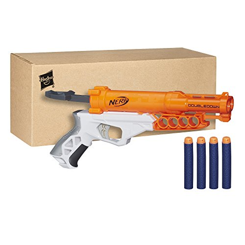 My 3-year-old's favorite Nerf gun is the Nerf Double Down Blaster. He can  easily work the gun by himself, and he loves that it's a double shooter.