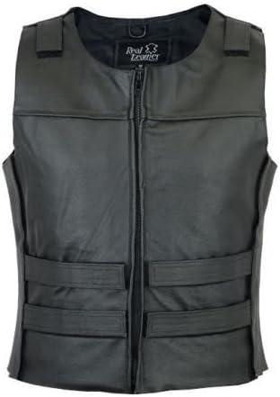 Mens New biker Motorcycle Leather Vest Stylish Black X-Large