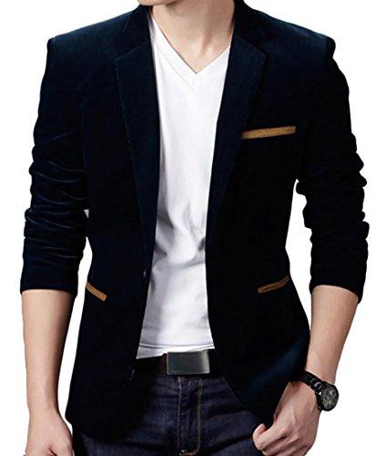 Beloved Men Fashion Classic Non-iron Cotton Lapel Casual Slim Fit Suit Blazers Black M