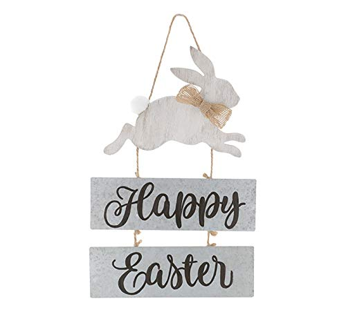Burton and Burton Happy Easter Bunny Rabbit Hanging Sign - Hand Painted Tin and Wood - 12x8 Inches