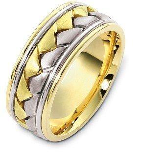 Ring Titanium Dora (18 Karat Yellow Gold & Titanium 9mm Braided Style Wedding Band - 4.75)