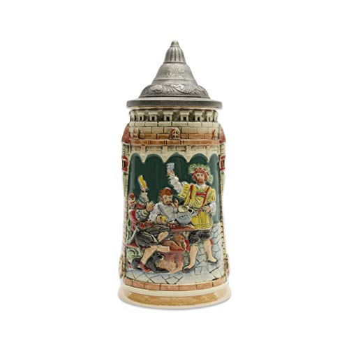 (Classic Germany Castle Festive Scene Engraved Beer Stein with Ornate Metal Lid)