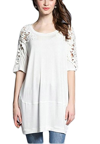 Jaycargogo Casual Scoop Womens Crochet Half White Sleeve Solid Dress Neck Color Fashion Lace 8r8xEq6