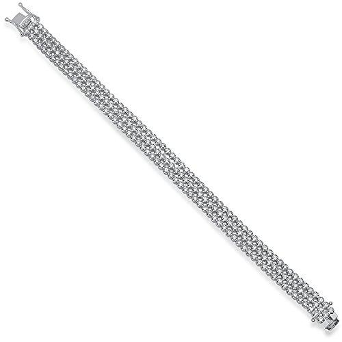 Dazzlingrock Collection 3.50 Carat (Ctw) 14K Round White Diamond Ladies Three Row Tennis Bracelet 3 1/2 CT, White Gold