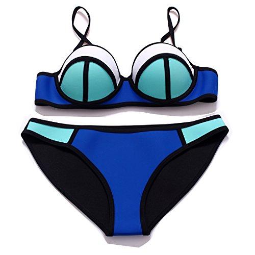 Damen Neoprene Bikini Sportlich bunt Push up Badebekleidung mit verstellbar Trägern Neopren Bademode Bikini-Sets