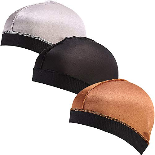 Ababalaya Unisex Elastic Band Silky Stocking Wave Cap Pack of 3 or 6 Fit All Head Sizes,Group 4(Pack of 3)