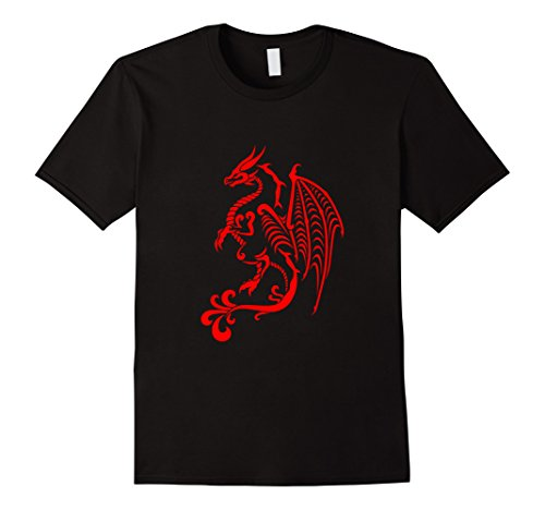 T-shirts Art Fantasy (Mens Red Dragon T-shirt Fantasy Tattoo Art Design Large Black)
