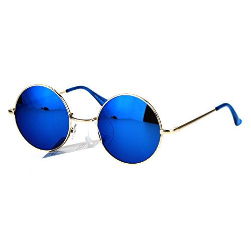 Reflective Color Mirrored Hippie Groove Round Circle Lens Retro Sunglasses Gold - Circle For Guys Sunglasses