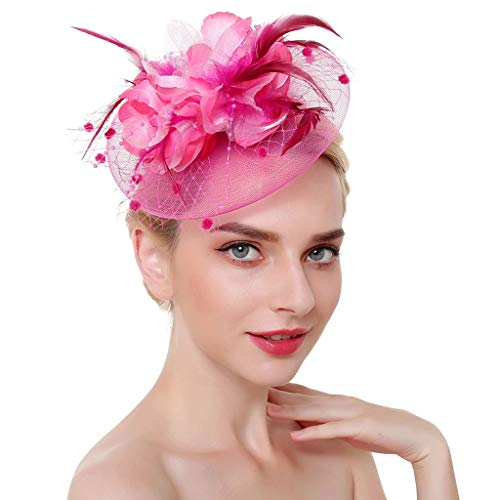 CHIDY Women Fascinators Tea Party Hats for Women Royal Wedding Hat Feather Mesh Hair Clips -