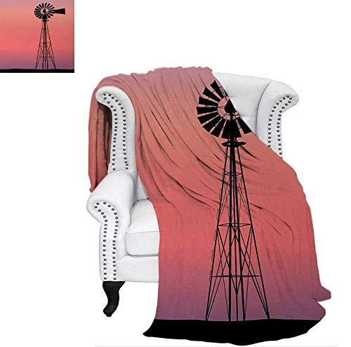 (Throw Blanket Windmill Silhouette at Dreamlike Sunset Western Ranch Agriculture Theme Velvet Plush Throw Blanket 50