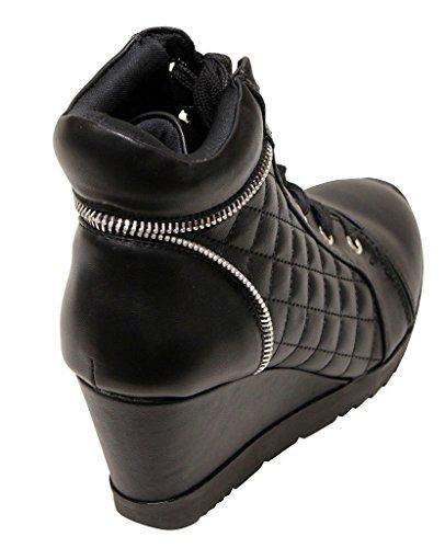 Dev Womens Forever Peggy Adriana Verborgen Wig Vetersluiting Aan Zijkant Rits Accent Nieuwe Mode Sneakers Laarsjes Zwart