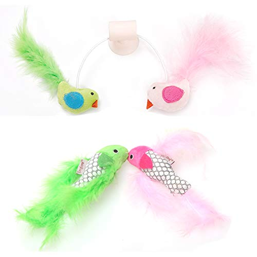 BoToKiNo Wall Mounted Cat Toy and Two Pet Feather Fish Toys-Cat Bird Interative Playing Toy Teaser Wand Sucker Window Cat toy, 3 Pcs by BoToKiNo