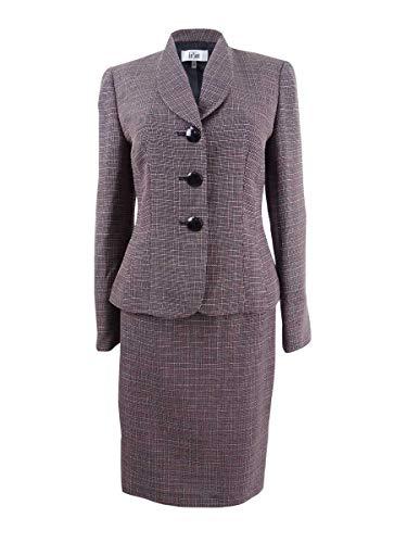Le Suit Women's Crosshatch Tweed 3 Button Shawl Collar Skirt Suit, Black/Blush, 4