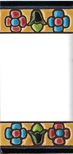Grabado y Ceramica Espa/ñola Pintados a mano con la t/écnica de la cuerda seca N/úmero 0 N/úmeros y letras para casas 3,5 x 7,5 cm