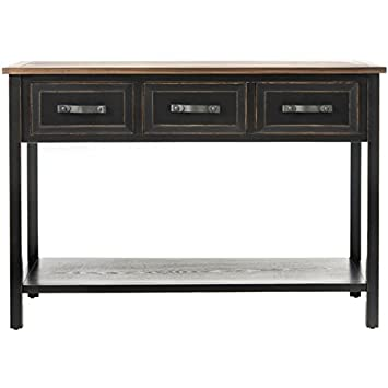 Safavieh American Homes Collection Aiden Distressed Black Three Drawer Console Table
