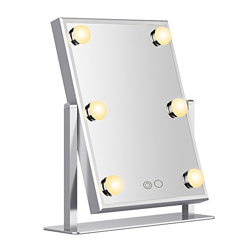 Adjustable Classic Mirror (Nitin Dayllight Lighted Makeup Mirror-Lighted Vanity Mirror With Touch Screen Dimmable,High Definition Clarity Cosmetic Mirror,180° Adjustable Rotation,Tabletop Cosmetic Mirror)