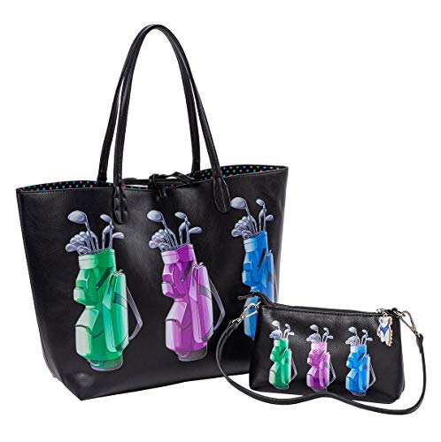 (Sydney Love Sport Golf Bag Print Reversible Tote & Wristlet, Black Multi)