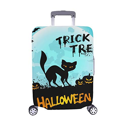 Halloween Night Background Picture With Cat Pumpk Pattern Spandex Trolley Case Travel Luggage Protector Suitcase Cover 28.5 X 20.5 Inch