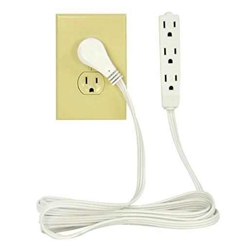 BindMaster 20 Feet Extension Cord/Wire, 3 Prong Grounded, 3 outlets, Angeled Flat Plug, White by BindMaster (Image #2)