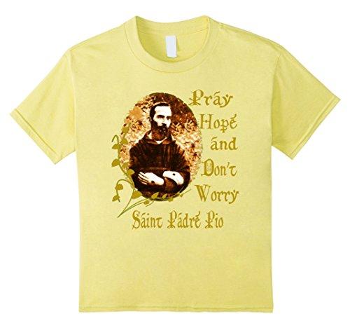 Price comparison product image Kids Padre Pio T-Shirt Saints T-Shirt Catholic T-Shirt 12 Lemon