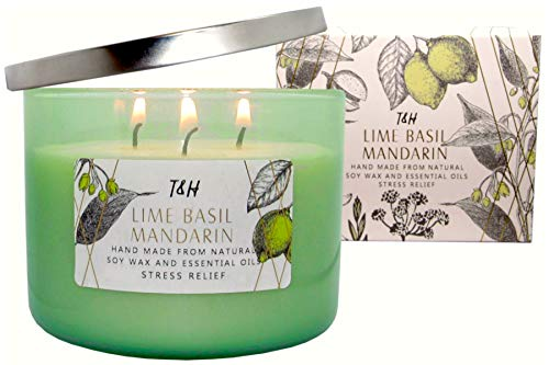 T&H Stress Relief Aromatherapy Candles 3 Wick Pure Soy Wax Scented Candle 80 Hour Burn Long Lasting 16 Ounce Handmade Glass (Lime Basil Mandarin) - Soy Scented Eucalyptus Wax