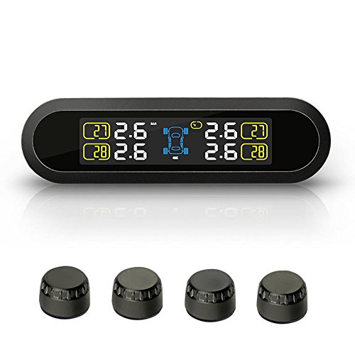 Blueskysea Wireless Solar Powered TPMS Car Real-time Tire Pressure Monitoring System with 4 External Sensors LCD Display