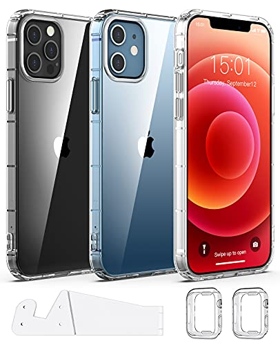 Dracolight Compatible for iPhone 12 Case, Anti-Yellow Anti-Scratch for iPhone 12 Pro Case, Clear Slim Shockproof Protective Phone Case, Include Phone Stand & Cases Compatible for Apple 38/40mm Watch