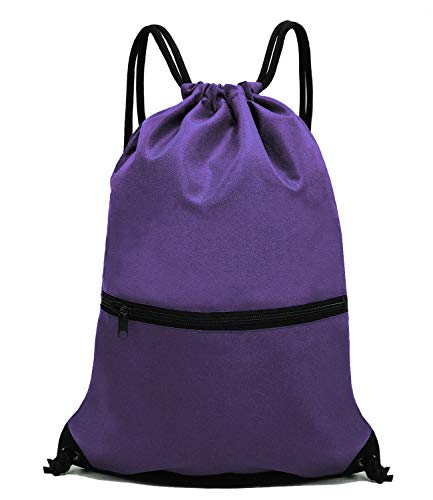 HOLYLUCK Men & Women Outdoor Sport Gym Sack Drawstring Backpack Bag - Purple -